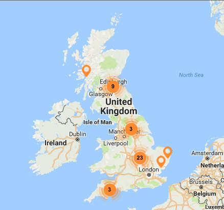 """The UK map of Living Wage employers """"events"""" catagory"""